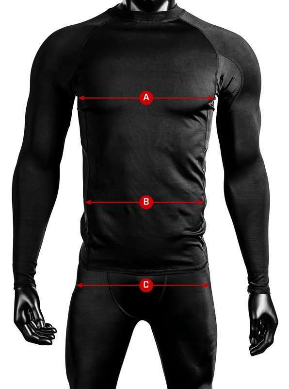 Body measurements consisting of letter A as chest, letter B as waist and letter C as hips`