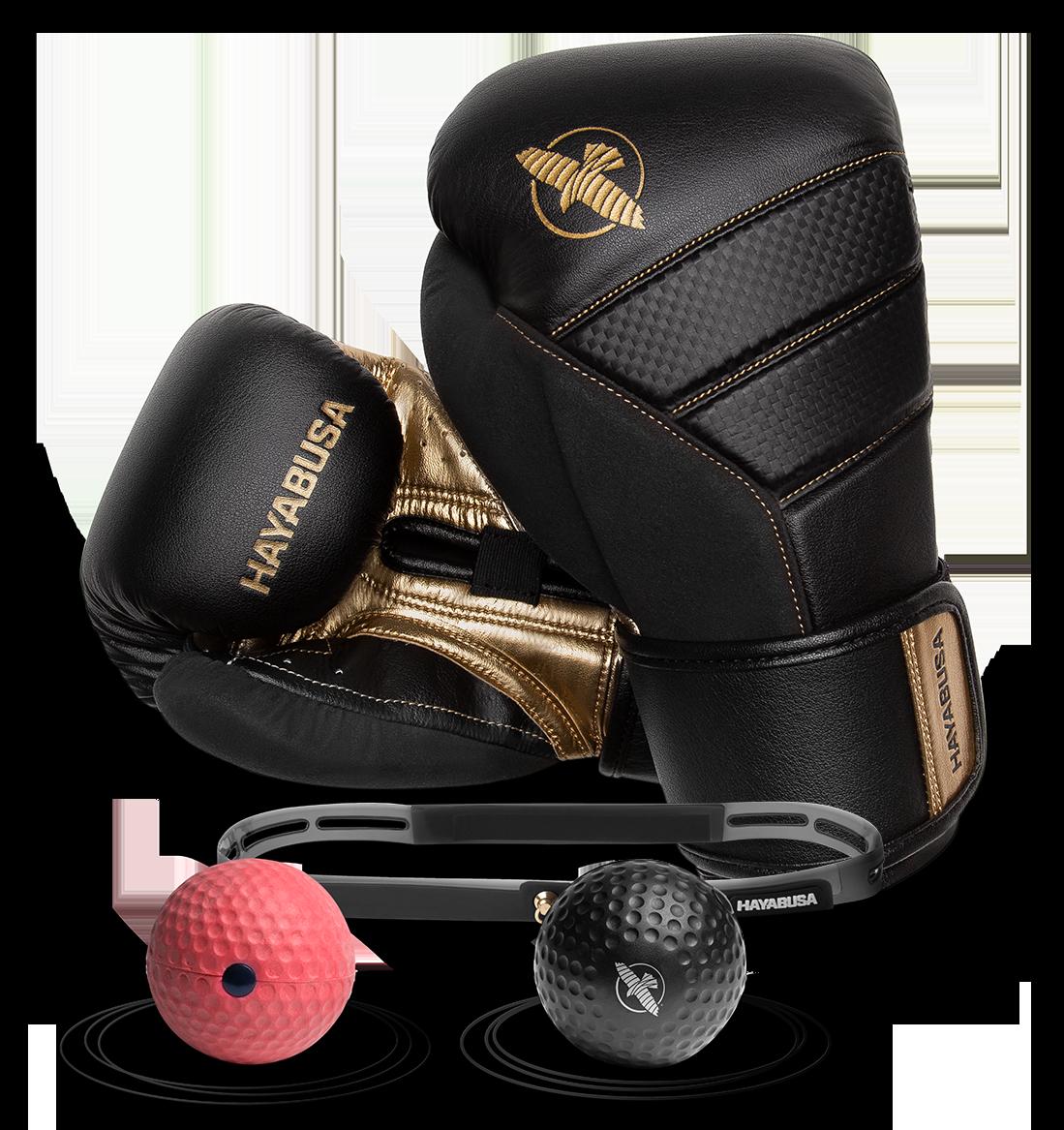 Hayabusa T3 Boxing Gloves, gold edition, with a reflex ball headband